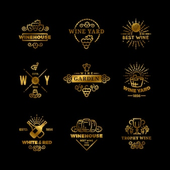 Wine logos and emblems isolated set