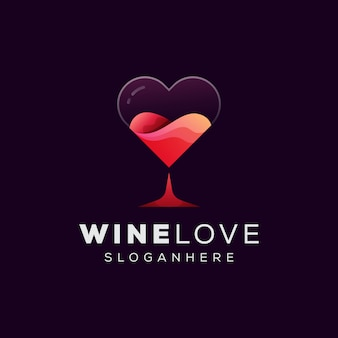 Wine love logo, бокал вина с любовным логотипом шаблон