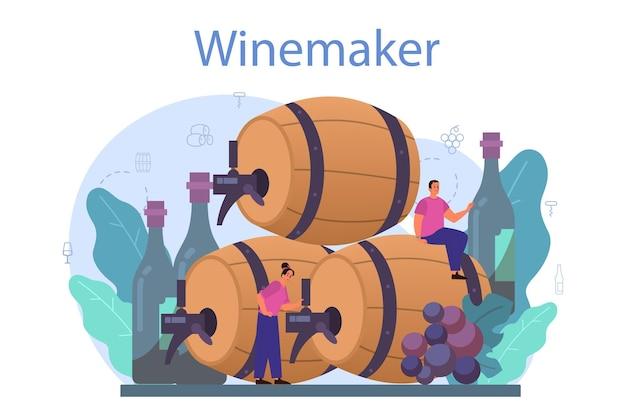 ワインメーカーのコンセプト。木製の樽にブドウのワイン、赤ワインのボトル、アルコール飲料がいっぱい入ったグラス。 Premiumベクター
