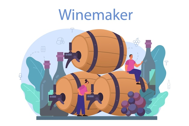 Wine maker concept. grape wine in a wood barrel, bottle of a red wine and glass full of alcohol drink.