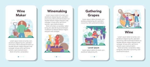 Набор баннеров мобильного приложения винодел виноградное вино в деревянной бочке