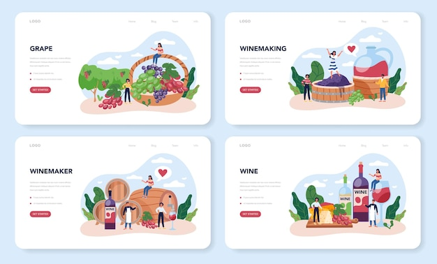 Wine maker web layout or landing page set. grape wine in a wood barrel, bottle of a red wine and glass full of alcohol drink.