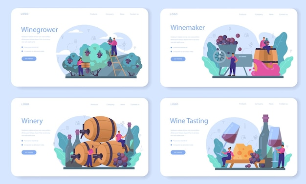 Wine maker web template or landing page set. grape wine in a wood barrel. reciepe development, exposure and samping, grape selection. isolated vector illustration