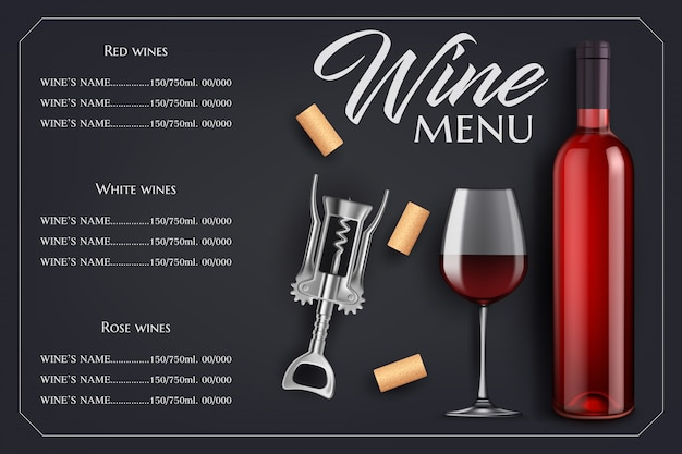 Wine menu list  template with bottle, glass