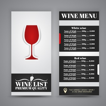 Wine menu for restaurant