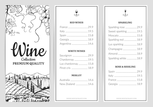 ワインメニュー。ワインカードテンプレート。ブドウのスケッチ、飲み物メニューテンプレート