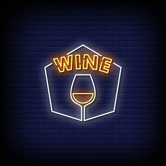 Wine neon signs style text vector