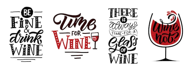 Вино нет? вино надписи. современная каллиграфия винная цитата. рука набросала вдохновляющие цитаты. плакат, баннер, открытка, шаблон надписи на карточке для ресторана, винного магазина, кафе, бара