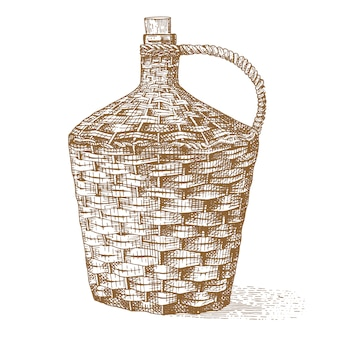 Wine old traditional braided bottle hand drawn engraved old looking vintage illustration