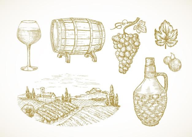 ワインまたはブドウ園のスケッチセット。ガラス樽または樽ブドウ枝の枝編み細工品ボトルと田舎の農場またはワイナリーの風景の手描きイラスト