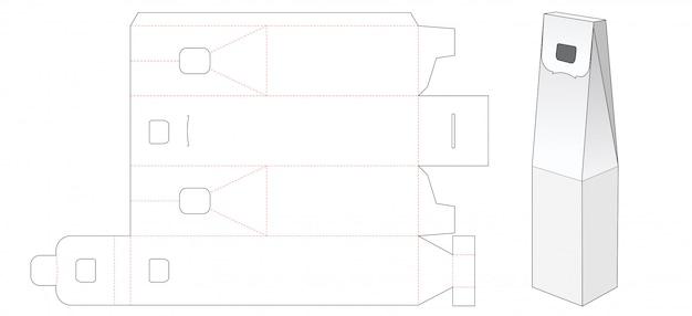 Wine packaging box die cut template