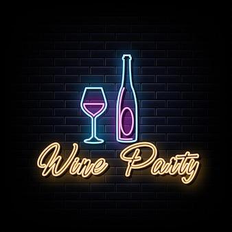 Вино вечеринка неоновые вывески векторный дизайн шаблона неоновая вывеска