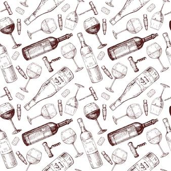 ワインのパターン、スケッチ、手描きのシームレスなパターン。