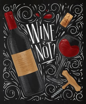 Wine poster lettering wine not with illustrated bottle glass cork corkscrew and design elements