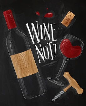 Wine poster lettering wine not with illustrated bottle glass cork corkscrew drawing in vintage styl