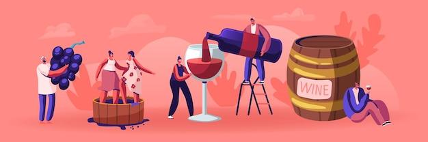 ワインの生産と飲酒の概念。ガラスにアルコール飲料を注ぐボトルを持つ男。男性と女性のキャラクターは有機ブドウを育て、自然なブドウの生産を生み出します。漫画フラットベクトルイラスト
