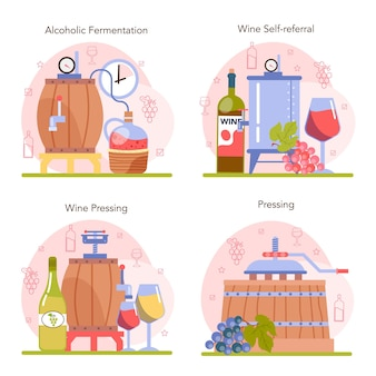 Wine production concept set grape wine in a bottle or glass alcohol drink