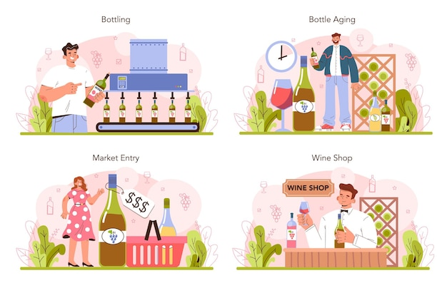 Wine production concept set. grape wine puted in bottles for sale.