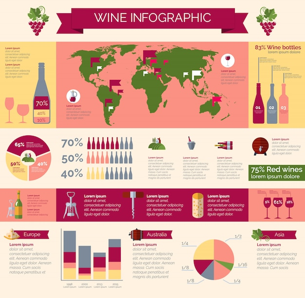 Wine production and distribution infographic poster