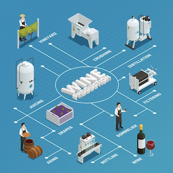 Wine production isometric flowchart
