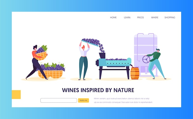 Wine production landing page. tap of winemaking are growing, gather squeeze juice. fermentaition and the bottling of the finished liquid in barrel website or web page. flat cartoon vector illustration