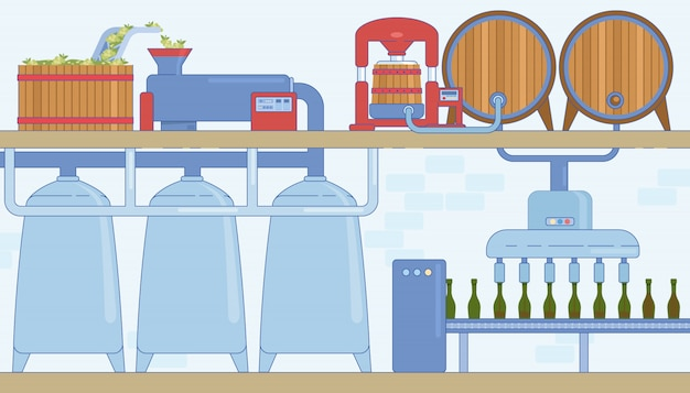 Wine production line and machines
