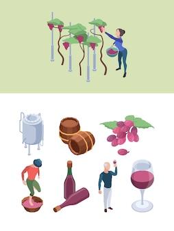와인 생산. 와이너리에서 일하는 포도원 사람들은 기술 포도 음료를 병에 담는 큰 배럴 벡터 아이소메트릭 세트를 처리합니다. 유리에 알코올 음료, 포도원 와이너리, 와인 생산 그림