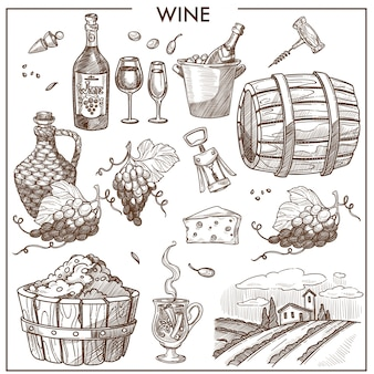 Wine promotional poster in sepia colors with grapes and bottles