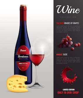 Wine realistic poster with grapes unique taste and cheese symbols