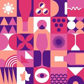 Wine seamless pattern in geometric
