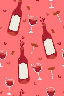 ボトルとグラスでワインのシームレスなパターン。