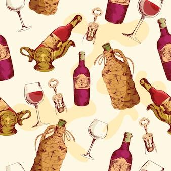 ワインシームレスパターン