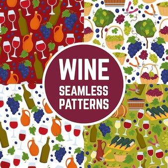 ワインのシームレスなパターンセット