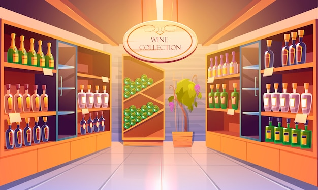 Wine shop, cellar interior with alcohol beverages collection, bottles on wooden shelves. store in building basement with potted grapes vine, tiled floor and glow lamps. cartoon illustration