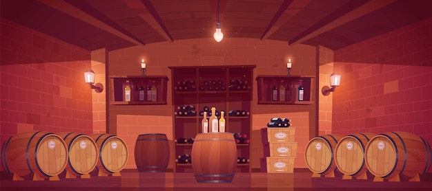 Винный магазин, интерьер погреба с деревянными бочками, полки со стеклянными бутылками, ящики с продукцией и лампами накаливания или свечами. магазин алкогольных напитков в подвале здания. векторные иллюстрации шаржа