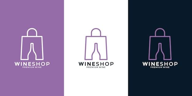 Wine shop logo design template minimalist clean