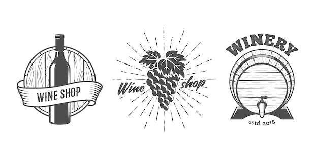 Wine shop logo set
