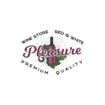 Wine shop logo template concept. wine bottle, vine symbols and typography design - pleasure. stock emblem for winery, wine shop logotype, store isolated on white background.