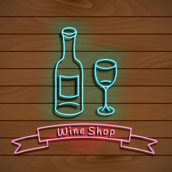 Wine shop. neon blue sign. light banner on a wood wall.