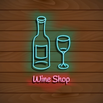 Wine shop. neon blue sign.