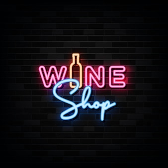 Wine shop neon signs .  template neon style