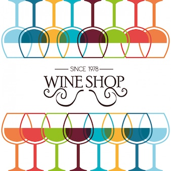 Wine shop template isolated icon design