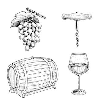 와인 스케치 세트. 포도, 코르크 따개, 와인 배럴 또는 통 및 와인 잔. 손으로 그린 그림