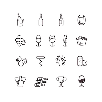 Wine sommelier winery thin line vector icons