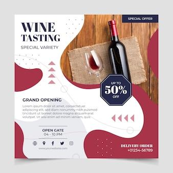 Modello di volantino quadrato vino