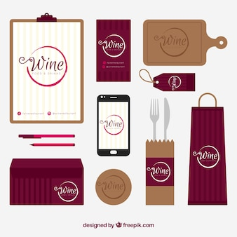 Wine stationery with accessories