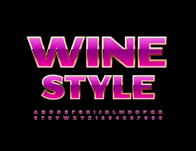 Wine style with pink and gold font glamour alphabet letters and numbers set