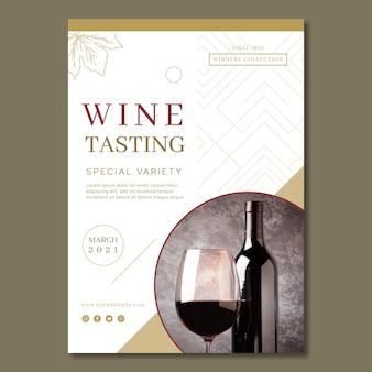 Modello di volantino pubblicitario per degustazione di vini