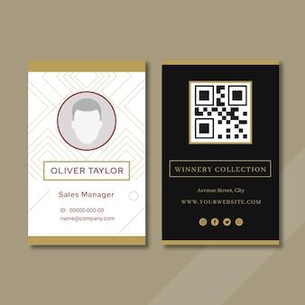 Modello di carta d'identità dell'annuncio di degustazione di vini