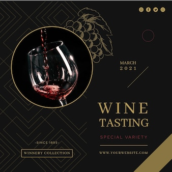 Wine tasting ad square flyer template